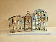 3 Vtg Miniature Wooden Figures And Angels Rare In Vintage Glass Display Cases