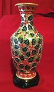 Cloisonne Holly Vase From The Smithsonian Catalog - In Box