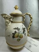 Antique Cafetera Inglaterra Royal Worcester 1896 Pintura Gold-colored Leaves