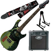 Peavey Walking Dead Michonne Splash Guitar With 6 Amp Walkers Strap And Stand