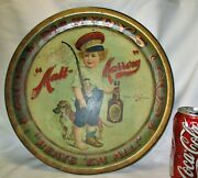 Antique Mcavoy's Malt Marrow Tin Metal Litho Tray Sign 1899 Beer Art Brewing Dog