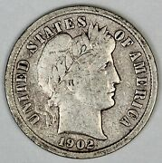1902-s United States Barber Dime - Vf Very Fine Condition