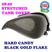 Hard Candy Black Gold Flake Stretched Tank Cover Fit Harley 2008-20 Touring