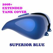 Superior Blue Stretched Tank Cover Fit Harley 2008-2020 Street Road Touring