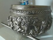 Antique X Large Burmese Tae High Relief Sterling Silver Bowl.