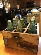 Antique Victory Soda Pop Bottles With Marble Inside And Wooden Crate