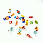 19 Pieces Murano Italy Studio Hand Blown Striped Art Glass Candy Excellent