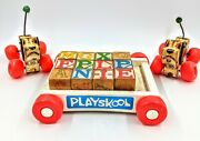 Vintage Wooden Fisher Price Little Snoopy Dog Pull Toy Playskool Blocks Wagon
