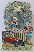 Victorian Antique Vintage Germany Diecut Foldout Valentine Card W/ Plane And Card