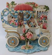 Victorian Antique Vintage Germany Diecut Foldout Car And Cupids Valentines Card