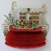 Victorian Antique Vintage Germany Diecut Foldout Boat Ship Valentines Day Card