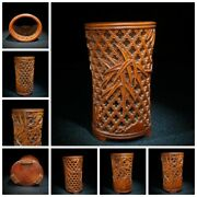 Old China Antique Decor Boxwood Wooden Statue Carvings Chinese Brush Pots Decor