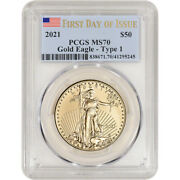 2021 American Gold Eagle 1 Oz 50 - Pcgs Ms70 First Day Issue
