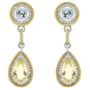Large 10.77ct Diamond And Aaa Blue Topaz And Green Quartz 18kt 2 Tone Gold Earrings