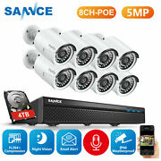 Sannce 5mp Poe System 8ch Nvr Ip Metal Video Audio Security Camera Night Hdd Us