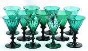 11x Antique Early 19th C White Wine Glass Bristol / Bluish Green Crystal