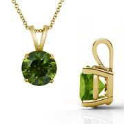 3 Carat Real Fancy Green Diamond 14k Yellow Gold Solitaire Pendant Necklace