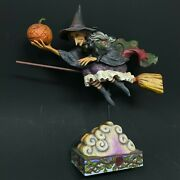 Jim Shore Fly With Me For A Spell Witch On Broom W/pumpkin 2007 - Halloween