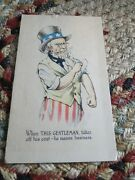 Patriotic Postcard Wwi Uncle Sam Means Business When He Takes Off His Jacket