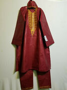 Men Clothing African Cotton Brocade Print Pant Suit Big Andtall Maroon One Size