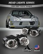Fits 1998-2001 Acura Integra Headlights Halo Projector Front Lamps Chrome/clear