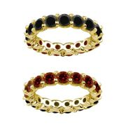 6 Carat Red And Black Real Diamond Reversible Eternity Ring Band 14k Yellow Gold