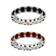 7 Carat Red And Black Real Diamond Reversible Eternity Ring Band 14k White Gold