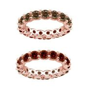 7 Carat Red And Champagne Real Diamond Eternity Ring Band 14k Rose Gold