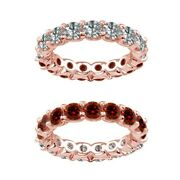 3.5 Carat Red And White Real Diamond Reversible Eternity Ring Band 14k Rose Gold