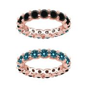 7 Carat Blue And Black Real Diamond Reversible Eternity Ring Band 14k Rose Gold
