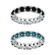 7 Carat Blue And Black Real Diamond Reversible Eternity Ring Band 14k White Gold