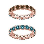 7 Carat Blue And Champagne Real Diamond Eternity Ring Band 14k Rose Gold