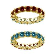 7 Carat Blue And Red Real Diamond Reversible Eternity Ring Band 14k Yellow Gold