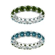 7 Carat Blue And Green Real Diamond Reversible Eternity Ring Band 14k White Gold