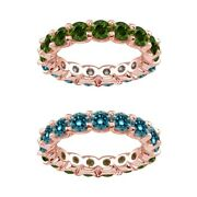 7 Carat Blue And Green Real Diamond Reversible Eternity Ring Band 14k Rose Gold