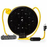 Retractable Extension Cord Reel With 3 Electrical Power Outlets - Yellow And Black