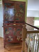 Antique Red Lacquered Chinese Wedding Armoire / Cabinet