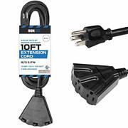 Extension Cord With 3 Electrical Power Outlets - 10 15 25 50 100ft Black