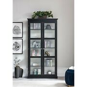 Display Cabinet With Doors And Shelves, Black76h