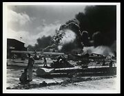 1941 Pearl Harbor Ford Island Uss Shaw Explosion Wwii Type 1 Original Photo