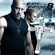 Fast And Furious Cross Necklace Men's Chain Stainless Steel Rhinestones Gold