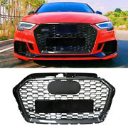 Rs3 Style For 2017-2019 Audi A3 S3 Grille Front Grill Hood Honeycomb Carbon Look