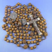 Antique 15 Decade Nun Rosary Anddagger Carved Wood Beads Medals