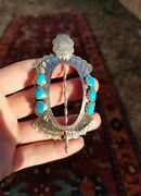Vintage Signed Sleeping Beauty Turquoise Signed Navajo Hair Pin Bun Holder