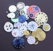 Vintage Lot Of Metal Assorted Pocket Watch Dial Faces Jewelry