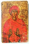 Antique 17th 20th Century Russian Iconsasint Mary Magdalene Cross Wood Panel