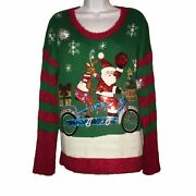 Nwt United States Sweaters Santa Riding Bike Ugly Pullover Christmas Sweater L