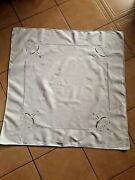 Nappe Blanche Ancienne Broderie J0urs Main@ Tablecloth