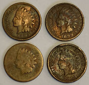 1873 1895 1899 1andcent Indian Head Penny United States 4 Coins
