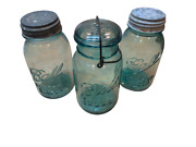 Lot Of 3 Vintage Ball Mason Blue Jars With 2 Zinc Lids And 1 Glass Wire 0,3,10